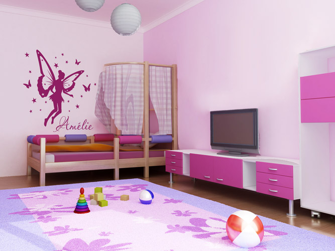 kinder lesen lernen f rdern mit wandtattoos wandtattoo name im kinderzimmer. Black Bedroom Furniture Sets. Home Design Ideas