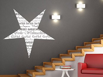 wandtattoo stern frohe weihnachten in verschiedenen sprachen. Black Bedroom Furniture Sets. Home Design Ideas