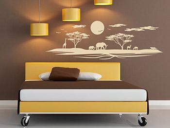 Wandtattoo afrika mit elefanten und giraffe - Schlafzimmer afrika ...