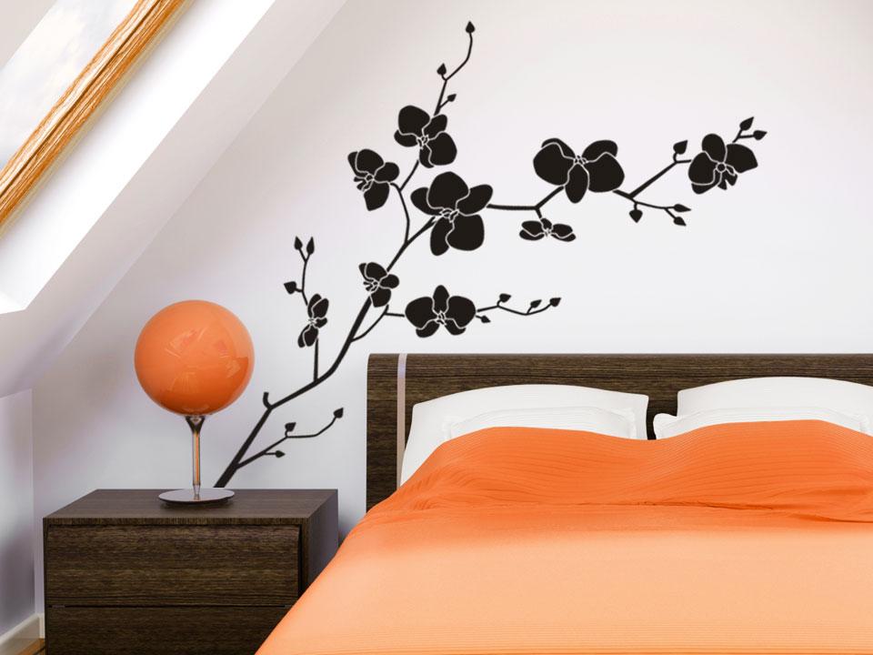 orchideen wandtattoo bl te. Black Bedroom Furniture Sets. Home Design Ideas