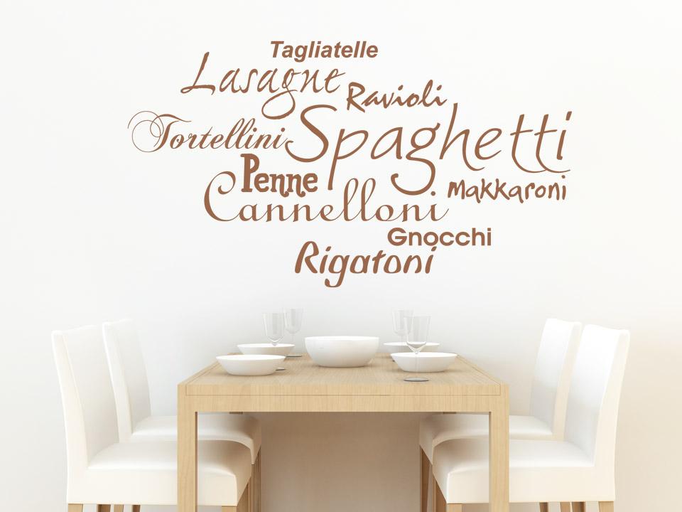 wandtattoo pasta sorten spaghetti lasagne rigatoni. Black Bedroom Furniture Sets. Home Design Ideas