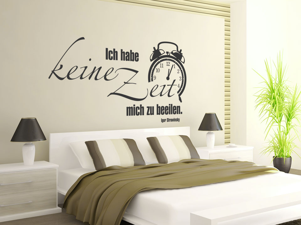 wandtattoo ich habe keine zeit mit wecker. Black Bedroom Furniture Sets. Home Design Ideas