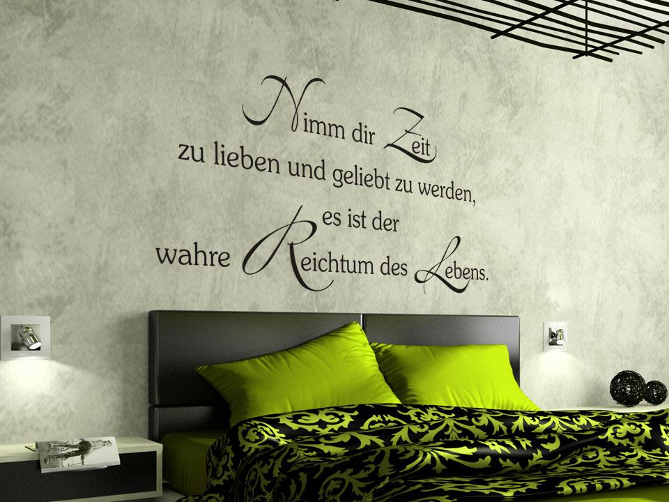 wandtattoo nimm dir zeit zu lieben und geliebt zu werden. Black Bedroom Furniture Sets. Home Design Ideas