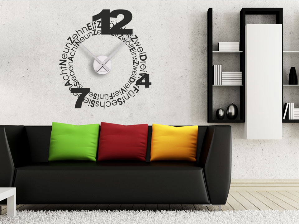 design wandtattoo uhr wanduhren design wandtattoos wanduhren. Black Bedroom Furniture Sets. Home Design Ideas