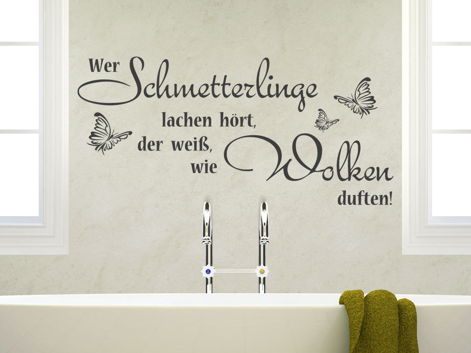 sprichwort wandtattoo wer schmetterlinge lachen h rt wandtattoo schmetterlinge wandspruch. Black Bedroom Furniture Sets. Home Design Ideas