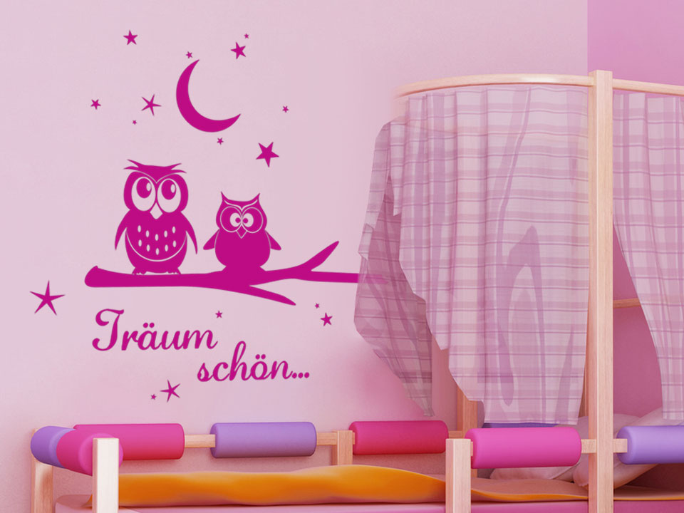 wandtattoo tr umende eulen wandtattoo eulen traum kinderzimmer wandtattoos kinder. Black Bedroom Furniture Sets. Home Design Ideas