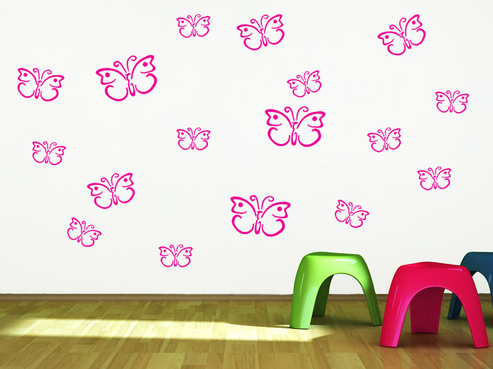 wandtattoo schmetterling set f rs kinderzimmer. Black Bedroom Furniture Sets. Home Design Ideas