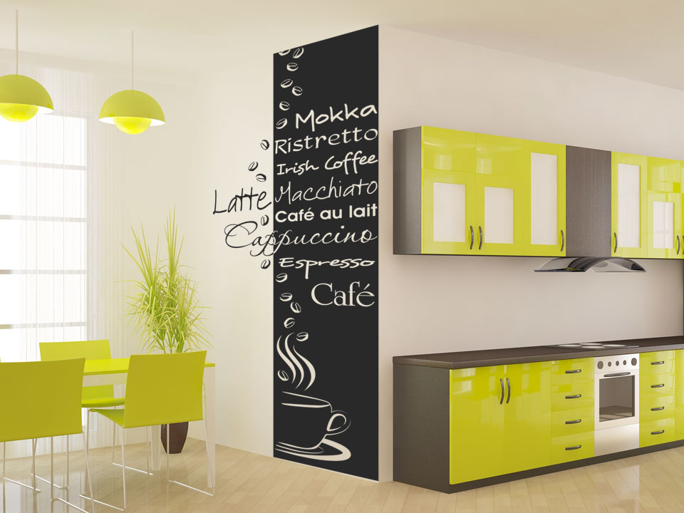 wandbanner kaffeesorten banner kaffee k che esszimmer wandtattoos wandbanner kaffee. Black Bedroom Furniture Sets. Home Design Ideas
