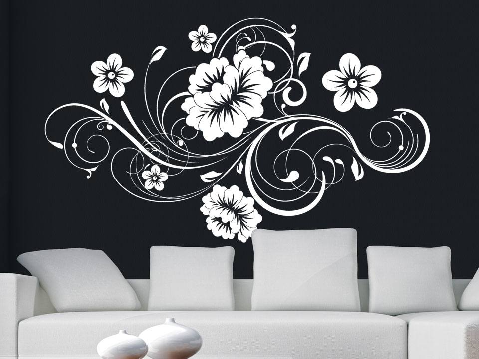 Wandtattoo Blumen Weiß : Wandtattoo Filigranes Blütenornament Wandtattoo Schnörkel Ornament
