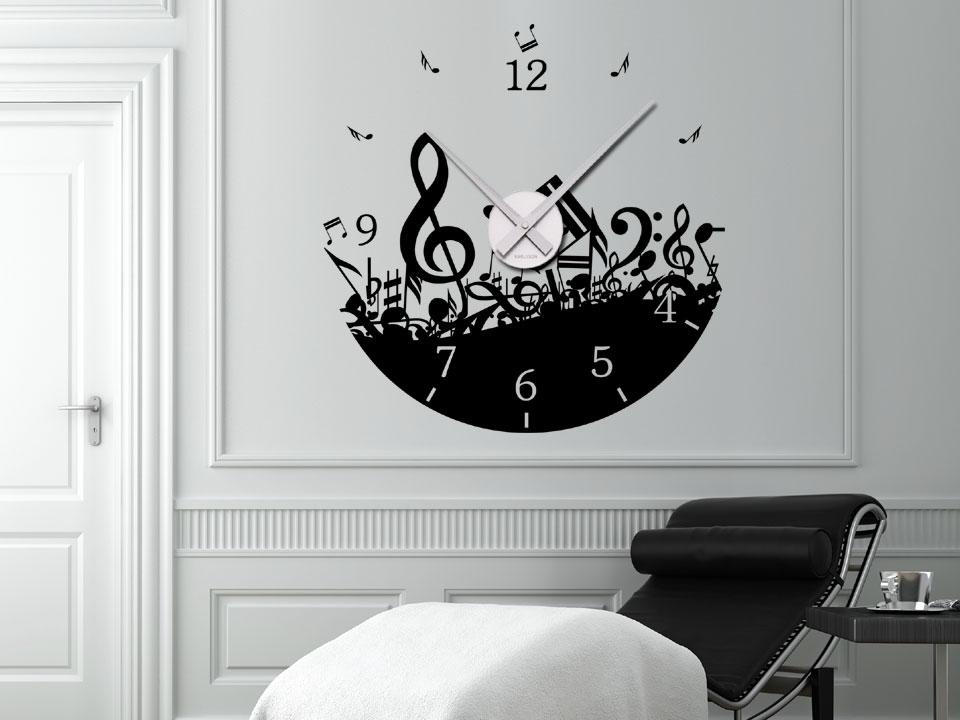 noten wandtattoo uhr wanduhren noten musik wandtattoos wanduhren noten. Black Bedroom Furniture Sets. Home Design Ideas