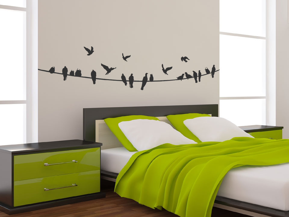 stromleitung mit vogelschwarm wandtattoo v gel wandtattoos vogelschwarm. Black Bedroom Furniture Sets. Home Design Ideas