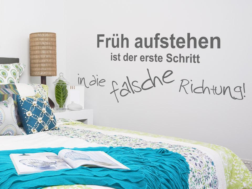 lustiges wandtattoo fr h aufstehen ist wandtattoo spruch wandtattoos spr che. Black Bedroom Furniture Sets. Home Design Ideas