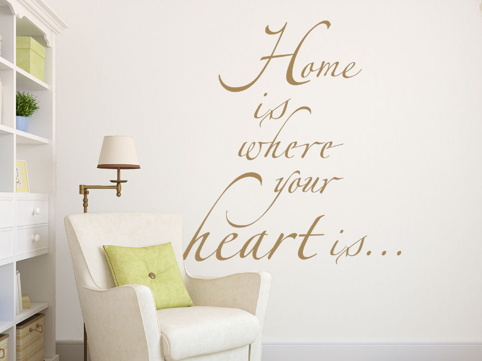 wandtattoo home is where your heart is. Black Bedroom Furniture Sets. Home Design Ideas