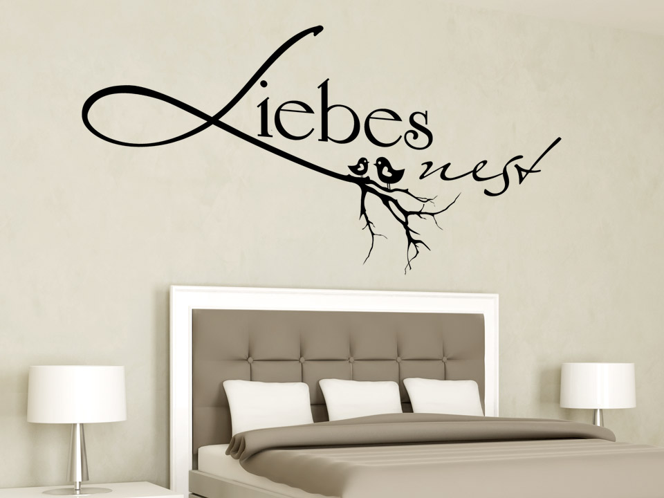 wandtattoo liebesnest mit v geln und ast. Black Bedroom Furniture Sets. Home Design Ideas