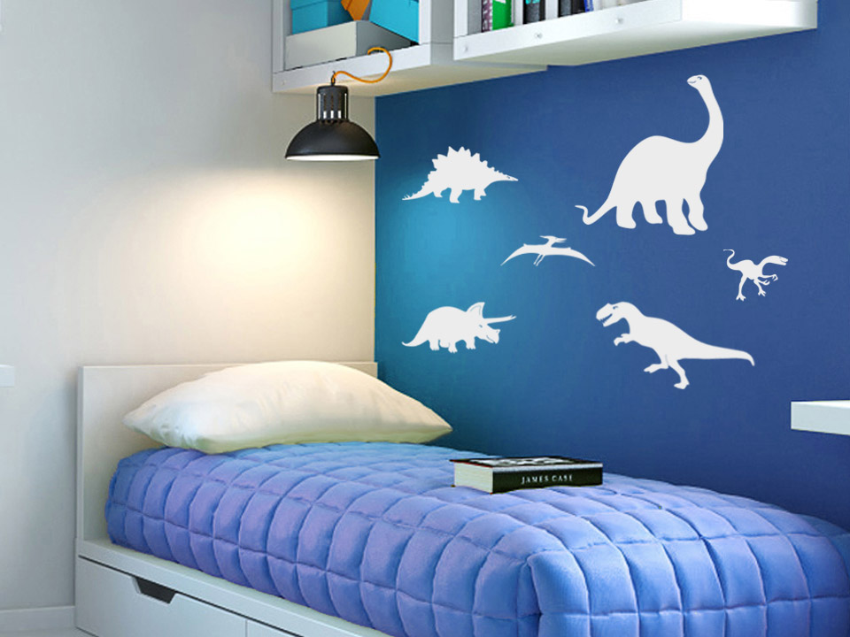 wandtattoo dinos 6er set wandtattoo dinosaurier f rs. Black Bedroom Furniture Sets. Home Design Ideas
