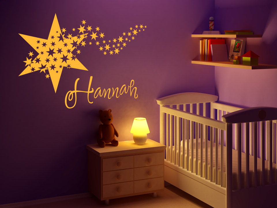 wandtattoo stern mit wunschname f rs babyzimmer. Black Bedroom Furniture Sets. Home Design Ideas
