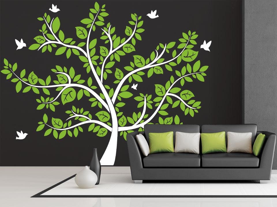 imposanter wandtattoo baum mit bunten bl ttern. Black Bedroom Furniture Sets. Home Design Ideas