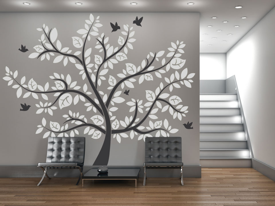 imposanter wandtattoo baum mit bunten bl ttern. Black Bedroom Furniture Sets. Home Design Ideas