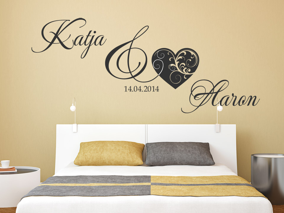wandtattoo hochzeit wunschnamen mit herz. Black Bedroom Furniture Sets. Home Design Ideas