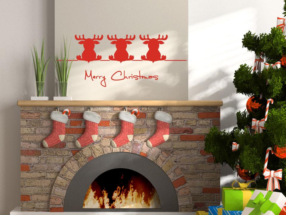 Wandtattoo Niedliche Weihnachtselche sitzen auf Stange ...