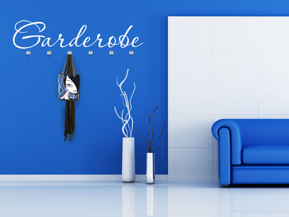 wandtattoo garderobe schriftzug wandtattoo garderoben. Black Bedroom Furniture Sets. Home Design Ideas