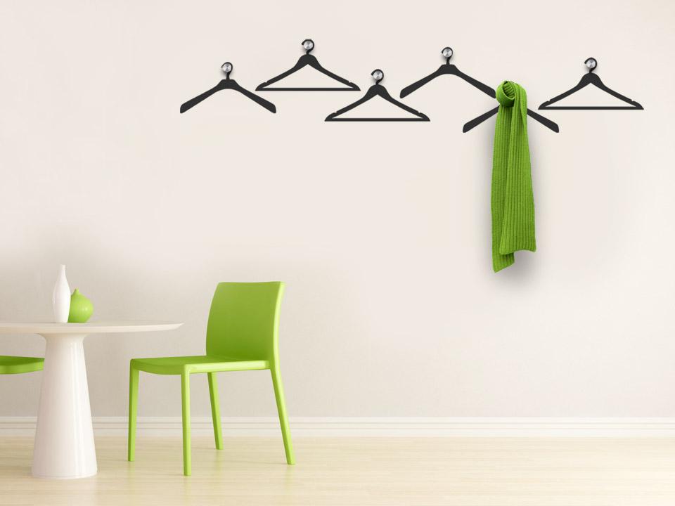 Wandtattoo garderobe kleiderb gel mit edelstahlhaken - Ausgefallene wandtattoos ...