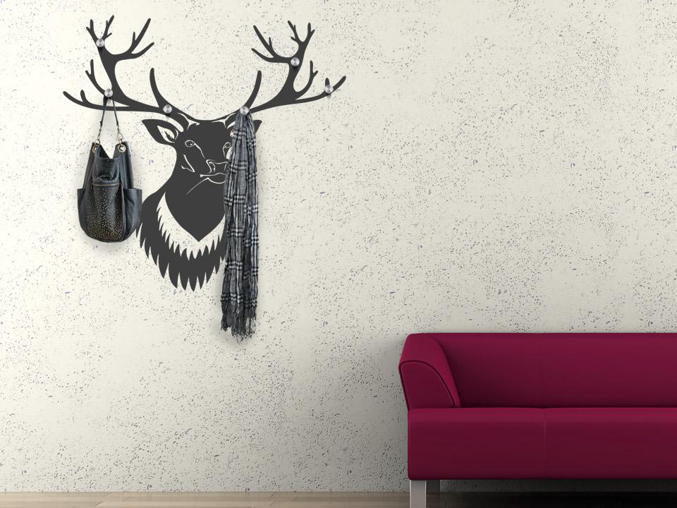 wandtattoo geweih hirsch garderobe als hirschgeweih. Black Bedroom Furniture Sets. Home Design Ideas