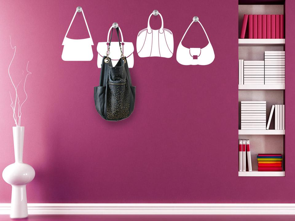 Wandtattoo handtaschen garderobe wandtattoo taschen for Flur garderobe glas edelstahl