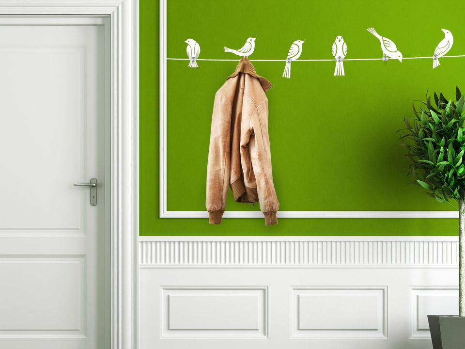 Wandtattoo garderobe v gel auf seil wandtattoo garderoben for Flur garderobe glas edelstahl