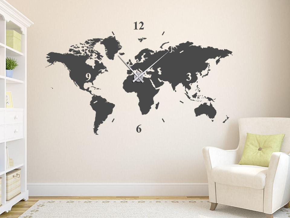 Wanduhr Wandtattoo Uhr Welt Wandtattoo Welt Karte ...