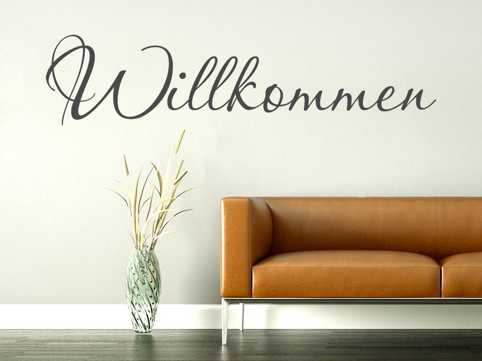 willkommen schriftzug wandtattoo in schreibschrift. Black Bedroom Furniture Sets. Home Design Ideas