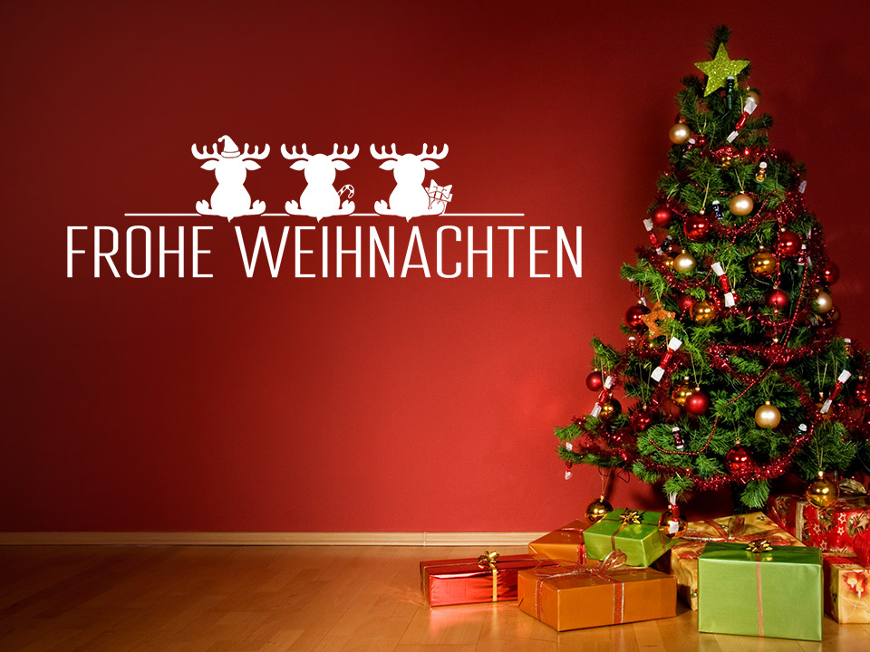 wandtattoo weihnachten schrift mit elchen. Black Bedroom Furniture Sets. Home Design Ideas