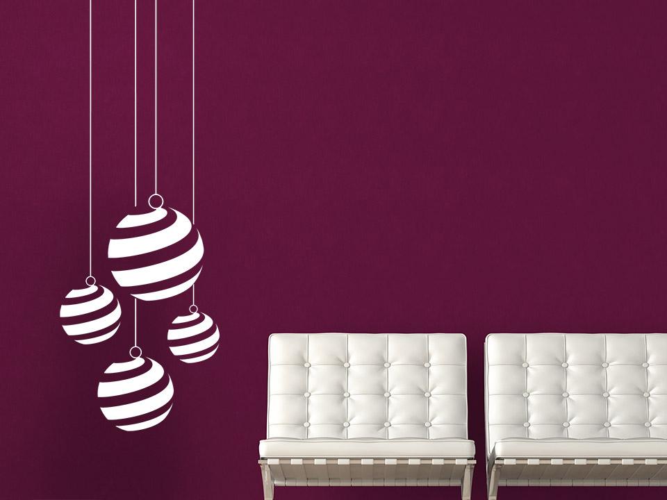wandtattoo christbaumkugeln mit streifen. Black Bedroom Furniture Sets. Home Design Ideas