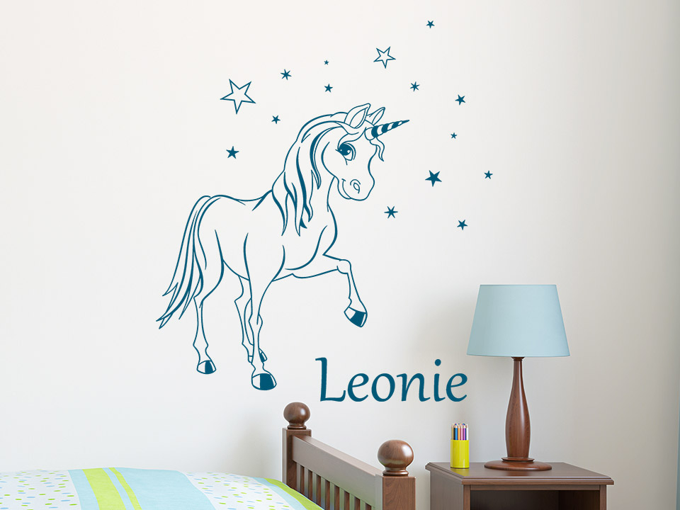 wandtattoo einhorn mit sternen und name. Black Bedroom Furniture Sets. Home Design Ideas