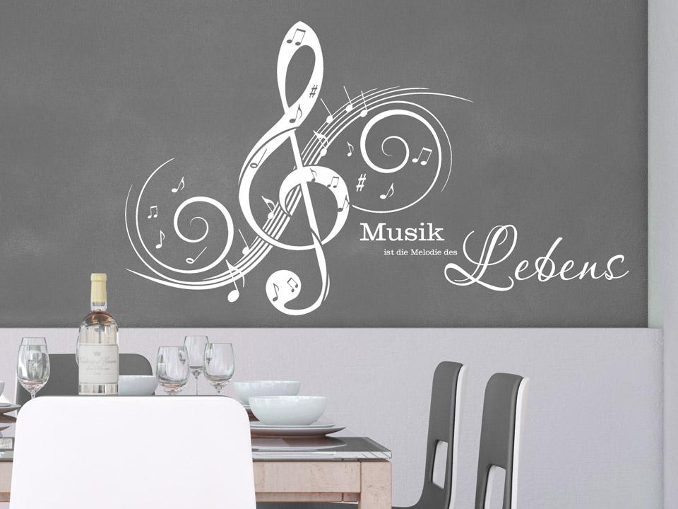 wandtattoo notenschl ssel mit musikspruch. Black Bedroom Furniture Sets. Home Design Ideas