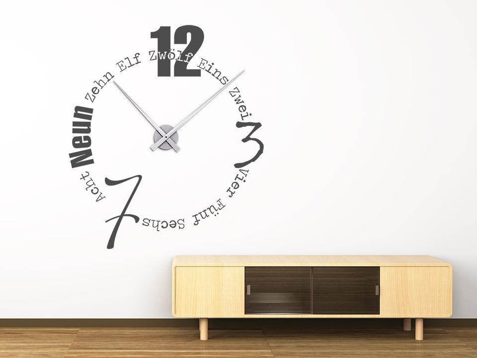 wandtattoo uhr worte als designer wanduhr mit zeiger. Black Bedroom Furniture Sets. Home Design Ideas