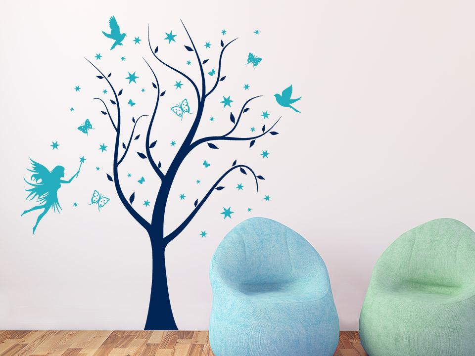Holz Mit Tapete Beziehen : Wandtattoo Magischer Baum mit Fee Wandtattoo Baum Kinderzimmer