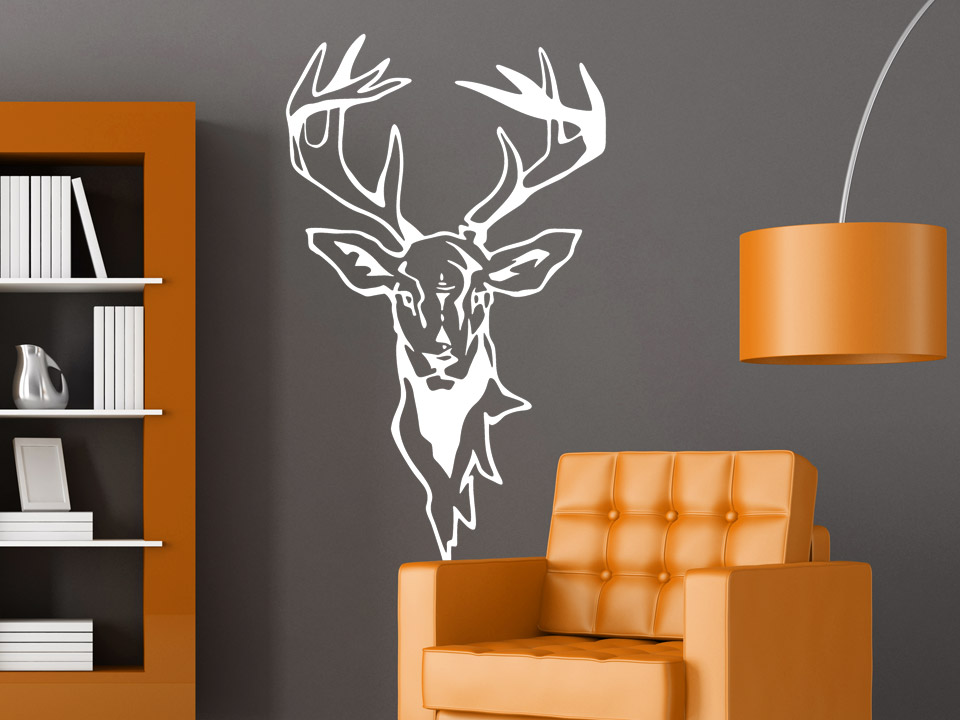 wandtattoo hirsch mit pr chtigem geweih. Black Bedroom Furniture Sets. Home Design Ideas