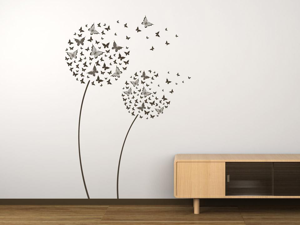 wandtattoo schmetterlingsblumen als pusteblume. Black Bedroom Furniture Sets. Home Design Ideas