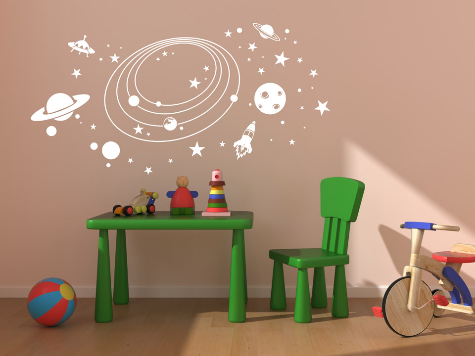 wandtattoo weltraum planeten wandtattoo kinderzimmer weltall planet rakete ufo kinder. Black Bedroom Furniture Sets. Home Design Ideas