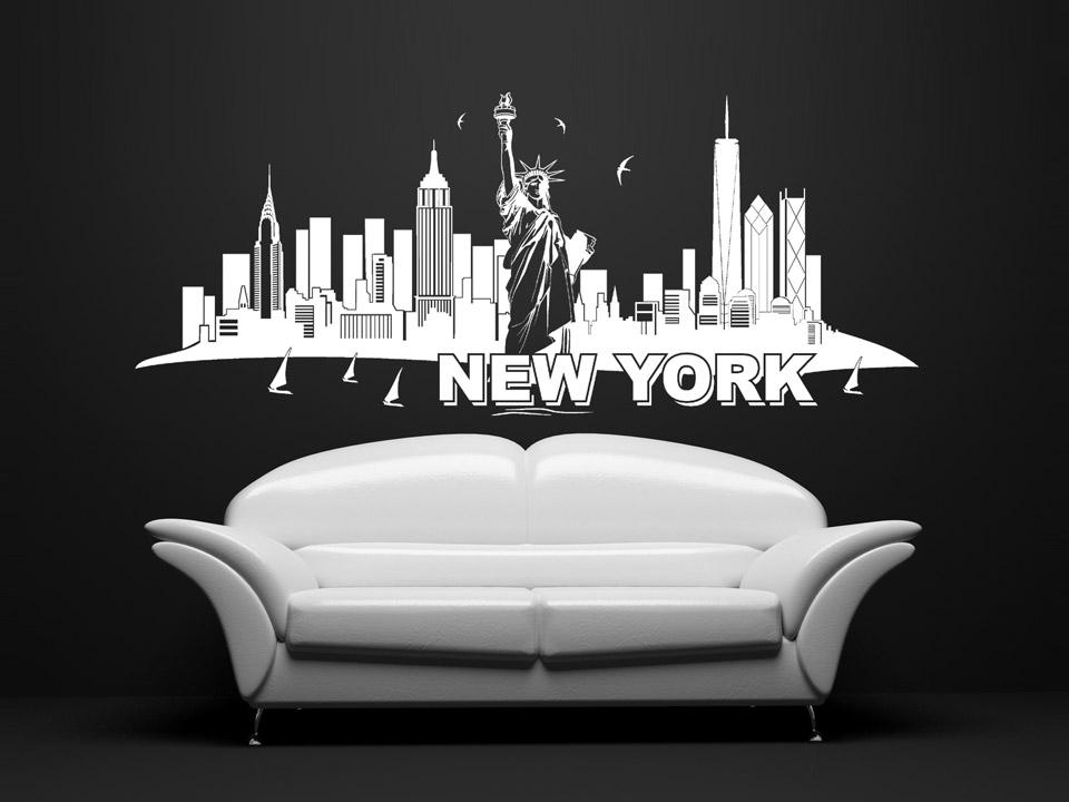 wandtattoo new york skyline wandtattoo freiheitsstatue. Black Bedroom Furniture Sets. Home Design Ideas