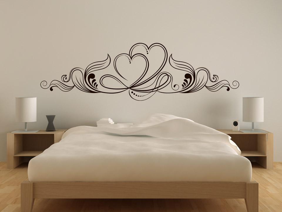 wandtattoo zwei herzen ornament wandtattoo schlafzimmer schn rkel. Black Bedroom Furniture Sets. Home Design Ideas
