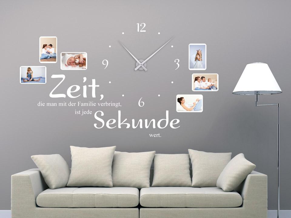 wandtattoo uhr zeit die man mit der familie verbringt ist jede sekunde wert. Black Bedroom Furniture Sets. Home Design Ideas