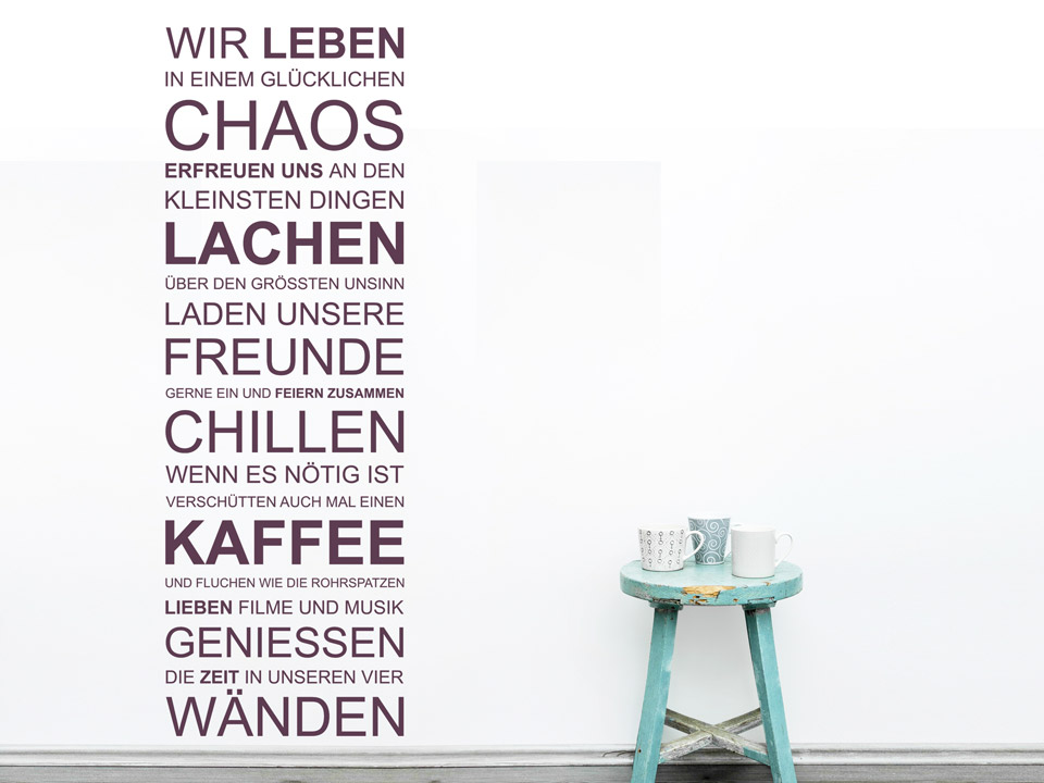 wandtattoo chaos lachen freunde wandtattoos spruch banner. Black Bedroom Furniture Sets. Home Design Ideas