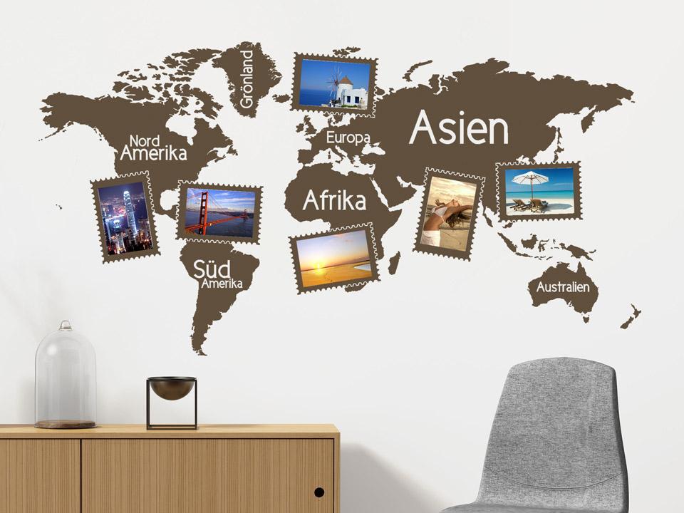 Wandtattoo weltkarte mit bilderrahmen wandtattoos als for Weltkarte mit fotos