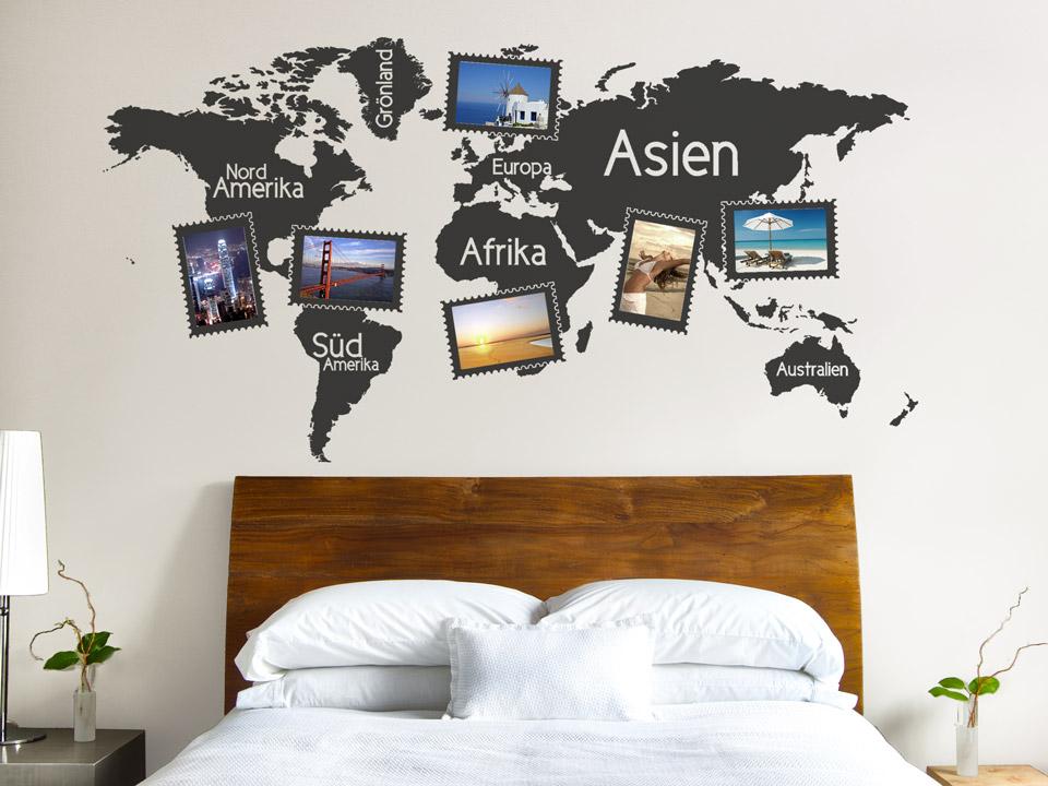 wandtattoo weltkarte mit bilderrahmen wandtattoos als rahmen f r eigene bilder. Black Bedroom Furniture Sets. Home Design Ideas