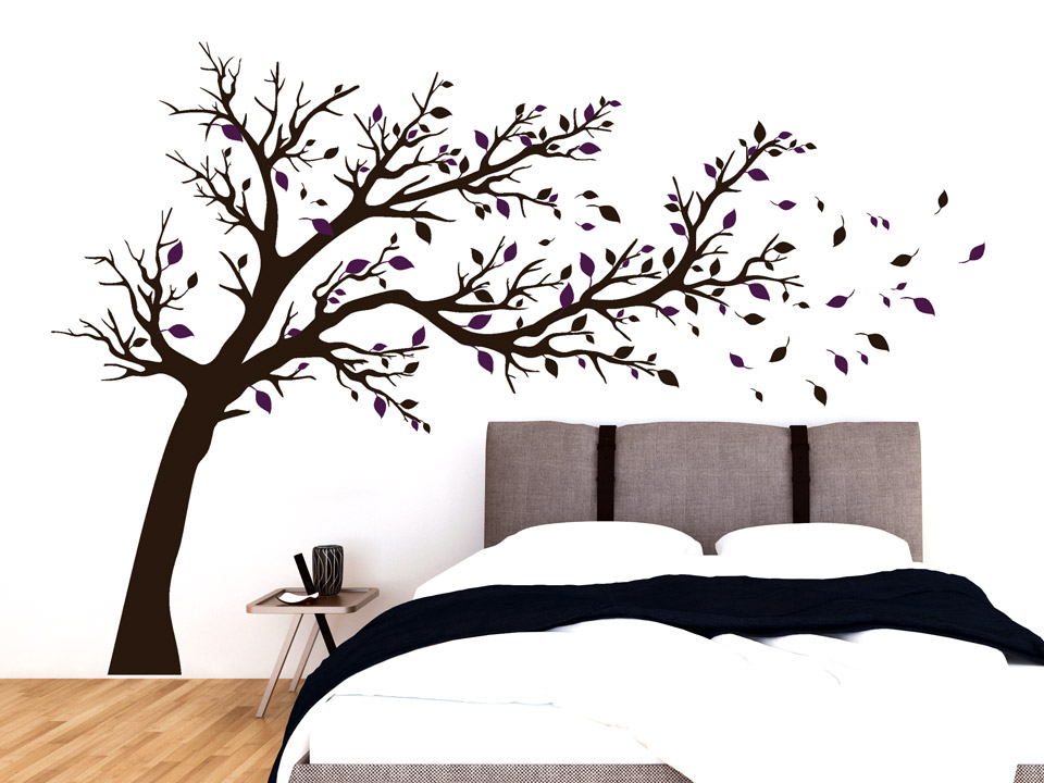 wandtatoo breiter baum wandtattoo baum mit breiter krone und bunten bl ttern. Black Bedroom Furniture Sets. Home Design Ideas