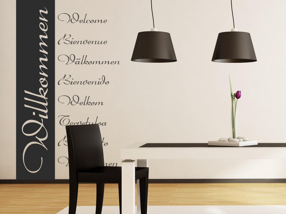 wandbanner willkommen verschiedene sprachen wand banner willkommen wandbanner. Black Bedroom Furniture Sets. Home Design Ideas