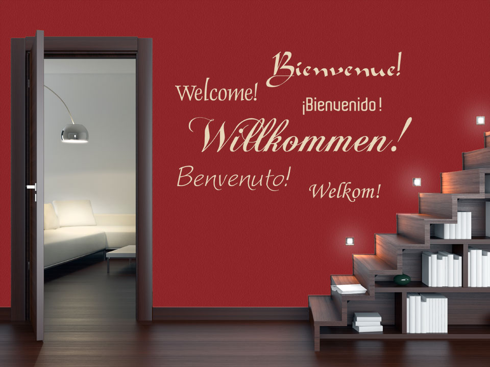 willkommen wandtattoo willkommen verschiedene sprachen wandtattoos sprachen willkommen. Black Bedroom Furniture Sets. Home Design Ideas