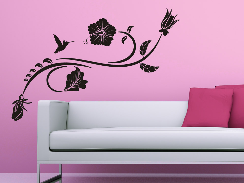 wandtattoo hibiskus bl tenranke wandtattoo hibiskus bl ten wandtattoos blumen. Black Bedroom Furniture Sets. Home Design Ideas